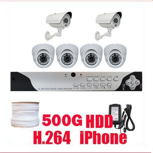 """Professional 8 Channel H.264 DVR with 6 x 1/3"""" SONY CCD WDR Camera, 600 TV lines. iPhone support, Central Management System (CMS)(500GB HDD) by Gw. $780.00. Package Includes:      GW9108V DVR with 500G HDD,     Remote Control and mouse,     2 x GW633H: 1/3"""" SONY CCD Outdoor Cameras,     4 x GW106M: 1/3"""" SONY CCD Indoor Cameras,     2 x GW125CAW: 125 feet pre-made cable BNC,     2 x GW100CAW: 100 feet pre-made cable BNC,     2 x GW60CAW: 60 feet pre-made cable BNC,  ..."""