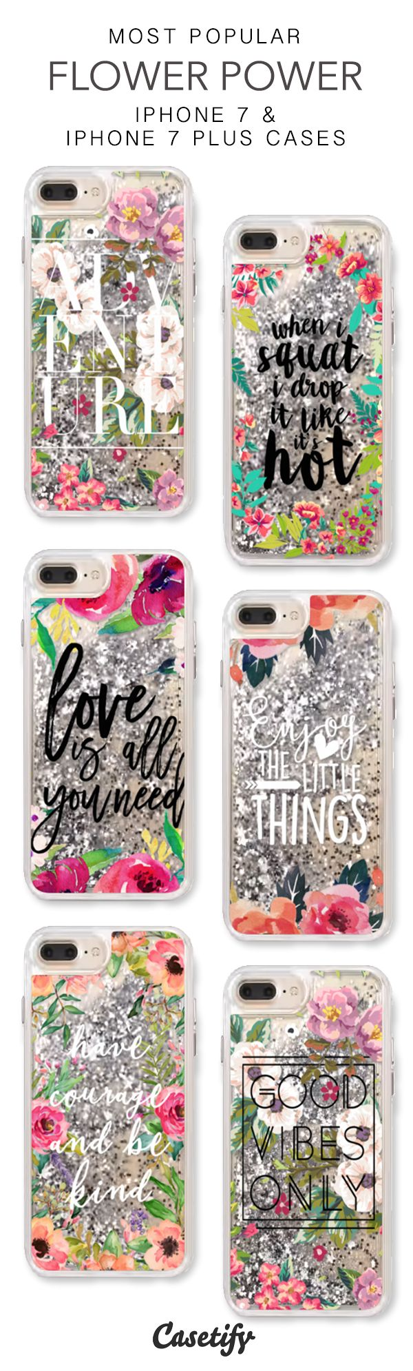 Most Popular Flower Power iPhone 7 Cases & iPhone 7 Plus Cases. More protective liquid glitter quote iPhone case here > https://www.casetify.com/en_US/collections/iphone-7-glitter-cases#/?vc=eRuU7oLTZg