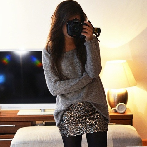 love the sparkle skirt and the long sleeve shirt, simple and yet can go to any party.