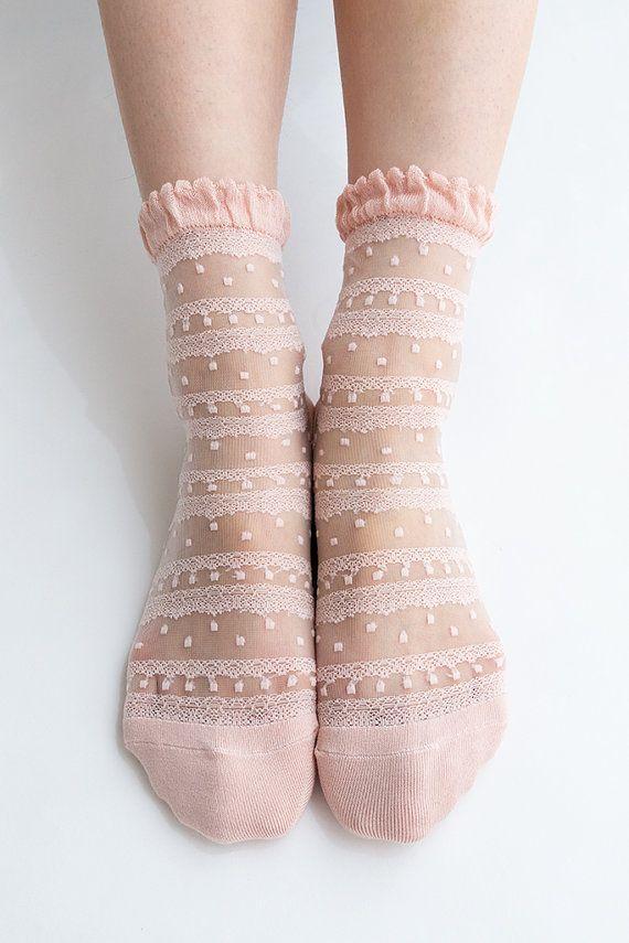 Women New Hezwagarcia Japan Edition Silk Rayon Nylon Beautiful Ruffle Frill Lace Mesh Sheer Sheen Elegant Ankle Socks Stocking in Blush