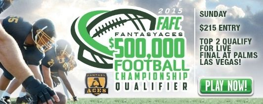 Save With FAFC Satellites! Did you know that you can win $500,000 FantasyAces Football Championship qualifier entries for a value price via our daily satellites? Over 14 qualifier tickets will be claimed today!  You can also play satellites to win $100,000 FantasyAces College Football Championship entries–be sure to check for satellites every day leading up to the big football qualifiers.