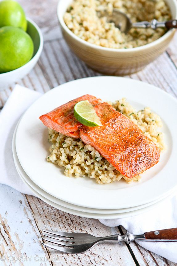 Spice Rubbed Lime Salmon Recipe...This salmon has amazing flavor - in only 15 minutes! | cookincanuck.com #cleaneating #dinner #glutenfree
