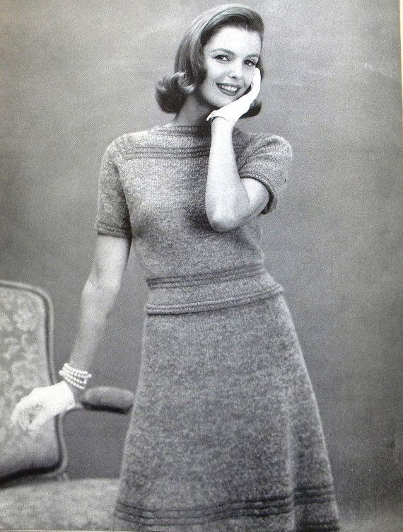 50's Misses Knitted Sweater, Skirt Vintage Knitting Pattern PDF W156 Size 12, 14, 16, 18
