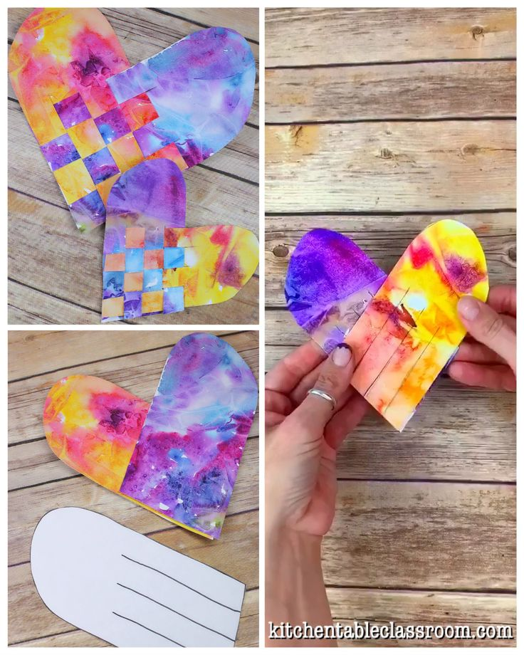 Use these free printable heart templates to make these colorful woven watercolor hearts.