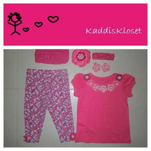 Hand embellished with hand made flowers by Kaddis Kloset Girls Size 3 Flower Power outfit.