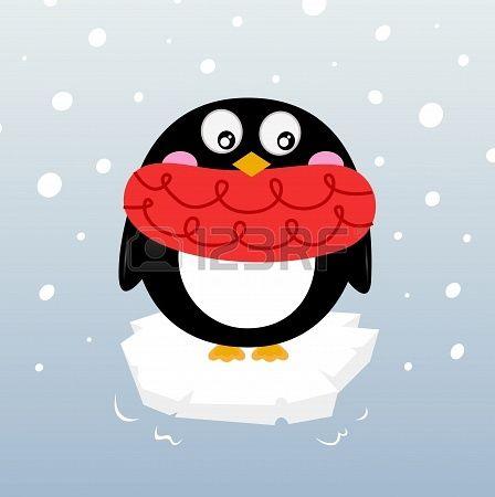 Cartoon winter penguin. Vector illustration