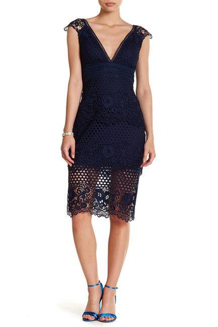 2407533c86f02 Image of Laundry By Shelli Segal V-Neck Lasercut Lace Dress ...