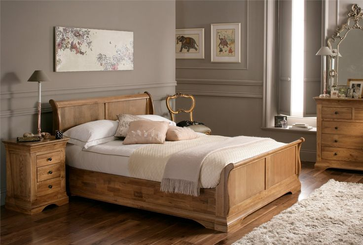 Versailles French Style Oak Sleigh Bed - Wooden Sleigh Beds - Wooden Beds - Beds