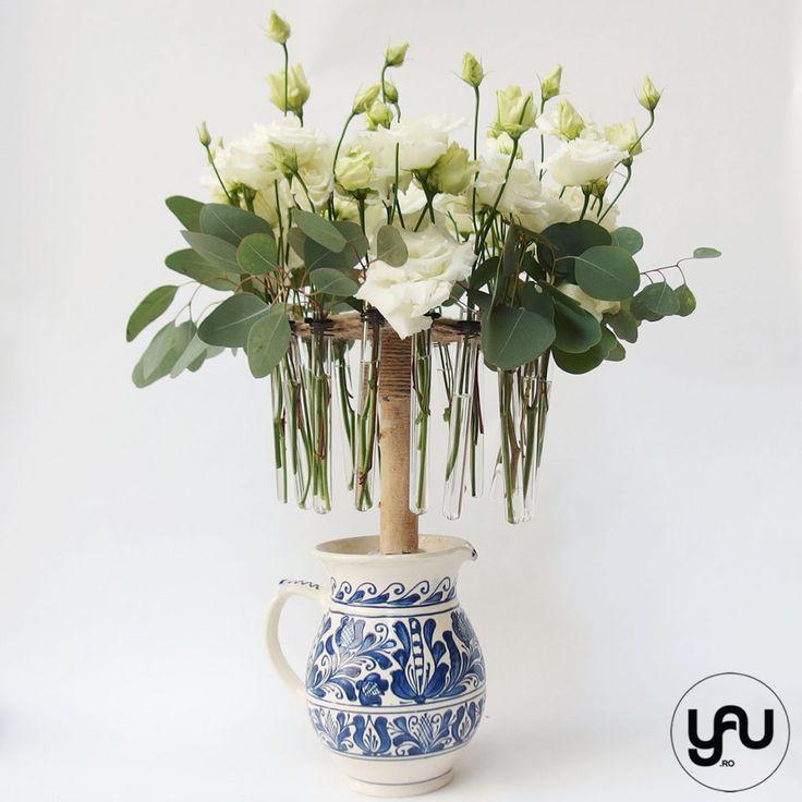 Aranjament floral ceramica romaneasca: OALA si ULCIORUL YaUconcept ElenaTOADER