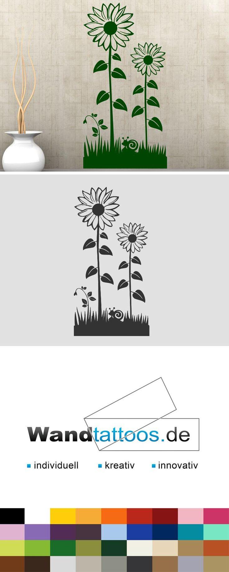 Wandtattoo Blumen Wiese mit Sonnenblumen als Idee zur individuellen Wandgestaltung. Einfach Lieblingsfarbe und Größe auswählen. Weitere kreative Anregungen von Wandtattoos.de hier entdecken!