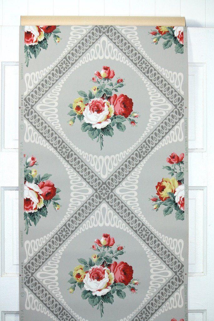 1940s Floral Vintage Wallpaper Wallpapers Vintage Vintage Wallpaper Pattern Wallpaper