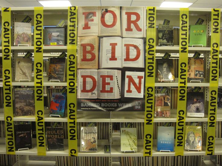 GREAT display for Banned Books Week! This site also has several other really cool displays and ideas for book trailers and what-not.
