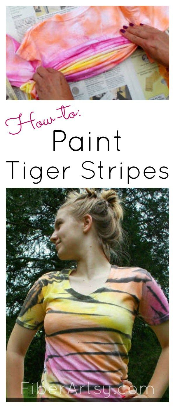 How to Paint a Tiger Striped T-shirt. Super easy fabric painting technique! Free DIY Craft Tutorial from FiberArtsy.com