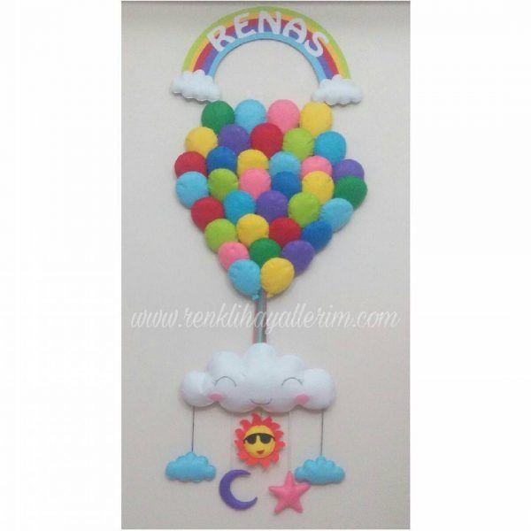 Ürün Adı : Balonlar Kapı Süsü Ürün Kodu: KS-011 Ürün Detayı: Keçeden dolgulu rengarenk 35 adet balon, üzerinde gökkuşağı ve isim, altta bulut ve sallanan figürler yer alan isimli kapı süsü. Boyutu: Yaklaşık 40 cm * 100 cm http://www.renklihayallerim.com/urun/balonlar-kapi-susu/   boy kids felt design