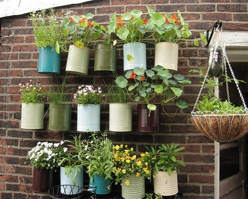 garden idea - herb garden: Gardens Ideas, Cane Memorial, Paintings Cans, Plants, Herbs Gardens, Flower Pots, Planters, Tins Cans, Wall Gardens