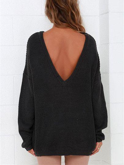 Black Backless Sweater Fall Winter Trendy Sweater