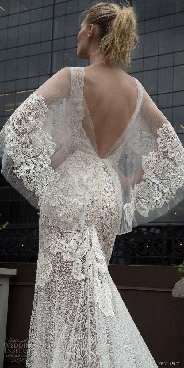 inbal dror 2016 wedding dress with v neck flutter sleeve trumpet sheath lace wedding dress sheer skirt style 12 bkv low back