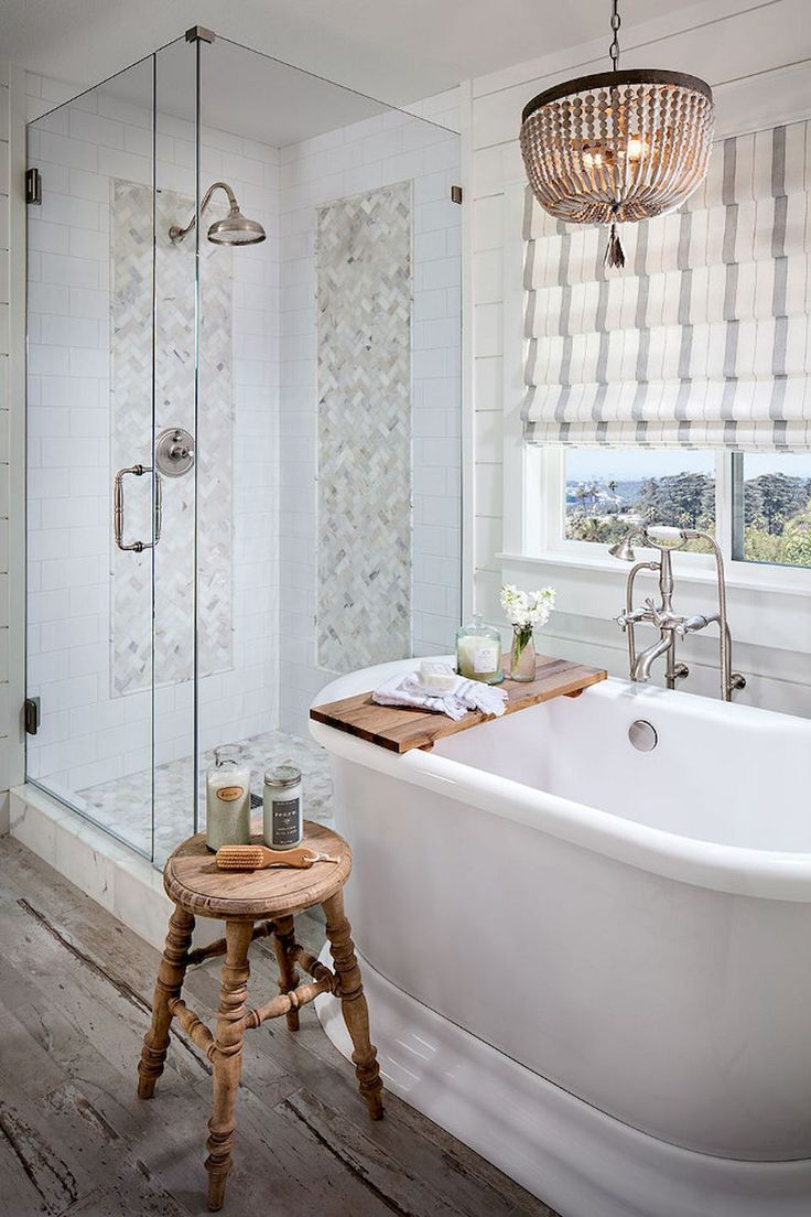 Farmhouse Master Bathroom Remodel Ideas Separate Shower Soaking Claw Foot Tub Di Farmhouse Master Bathroom Modern Farmhouse Bathroom Bathroom Remodel Master