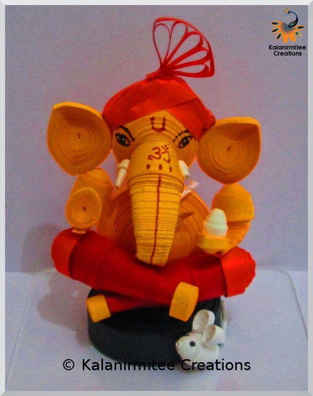 Quilled Miniature: Lord Ganesha - Visit http://www.kalanirmitee.com