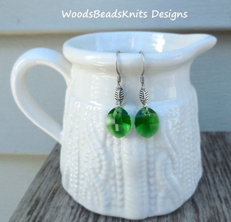 Swarovski Crystals Earrings, Green Earrings, Antique Silver Plated Brass, Lightweight, Lead-Free Hooks, St Patrick Day Gift, Lucky Color
