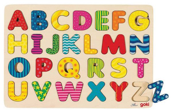 Wooden alphabet puzzle that comes presented on a tray. Each letter of the alphabet is recessed into the tray and each letter brightly coloured to stimulate little minds. Great for teaching the alphabet.  age:  3+