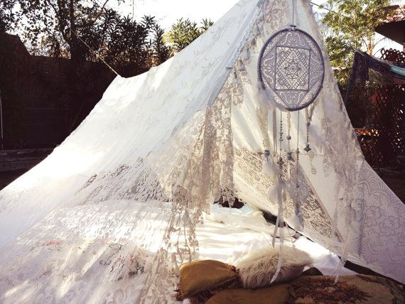 For G Lee! Tent Wedding Dreamcatcher lace hippiewild Decor TeePee photo prop Bohemian hippie backdrop gypsy white bride shabby chic