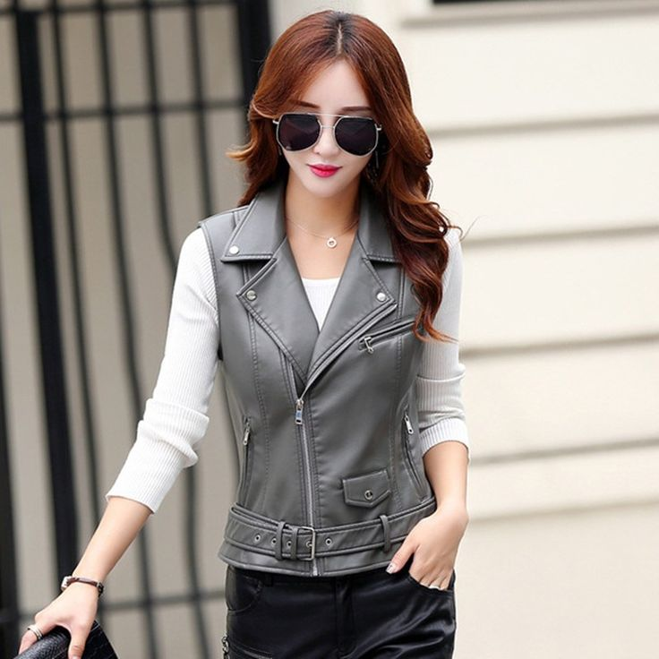Promo offer US $29.60  leather jacket  women's spring and autumn fashion Short paragraph PU leather jackets Slim  motorcycle leather vest coat 6605  . Get discount for product: Stylish Leather Jackets.