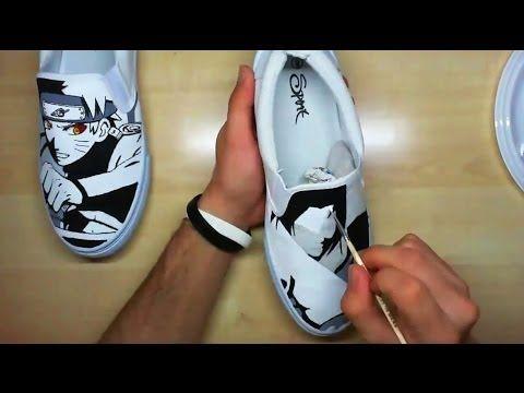 """Naruto vs Sasuke"" Custom Painted Shoes   Simone Manenti"