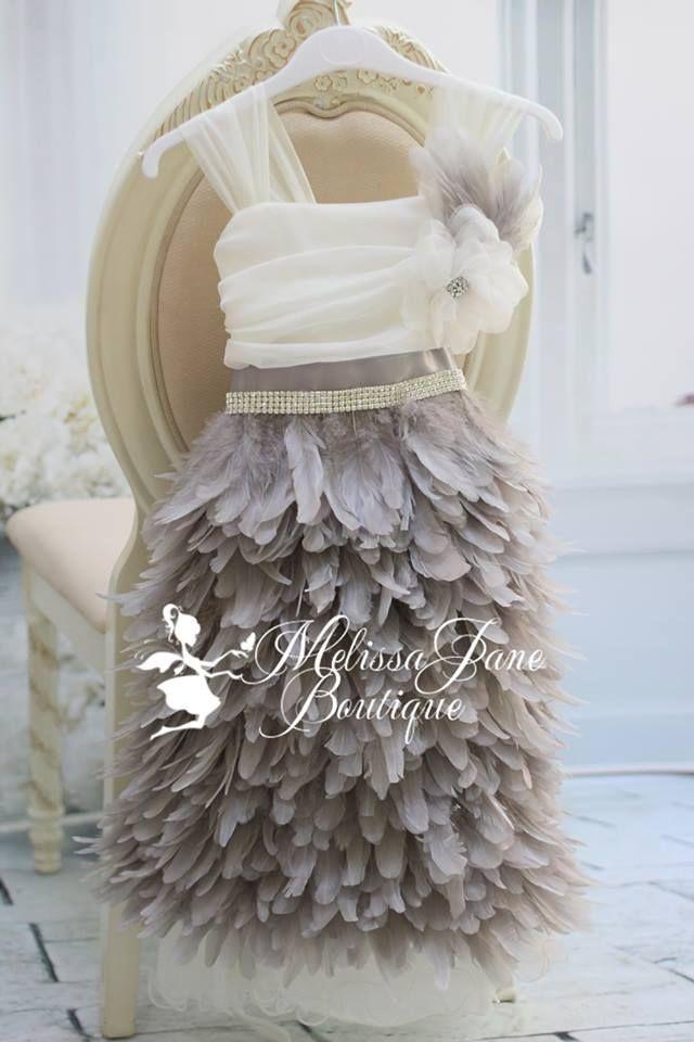 Grey Feather Flower Girl Dress