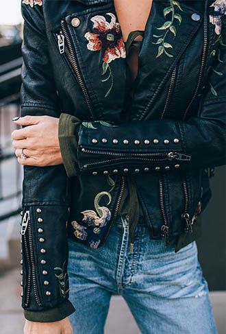 Embroidered floral moto jacket and denim