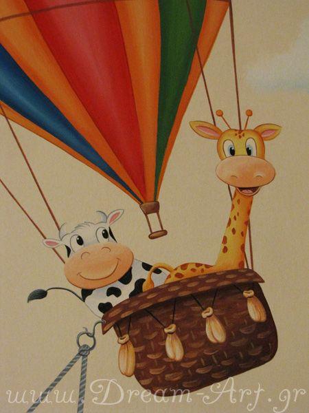 Αερόστατο με ζωάκια, ζωγραφική στον τοίχο παιδικού δωματίου