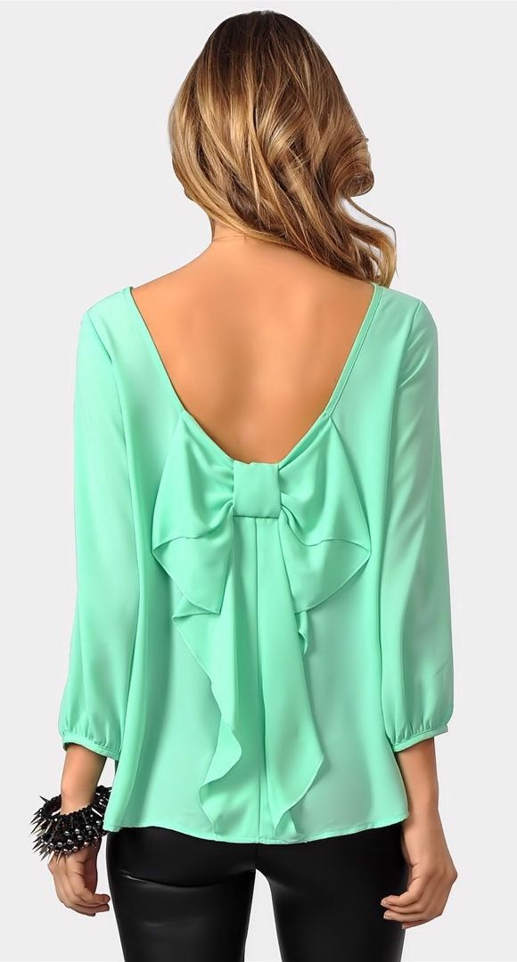 Bow Back Blouse Mint 88