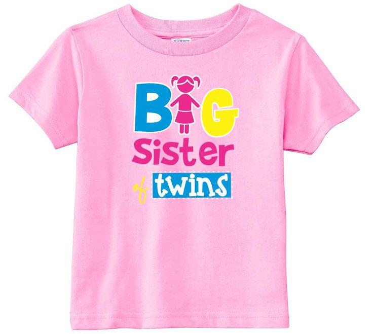 Big Sister Of Twins Toddler Girls Shirt