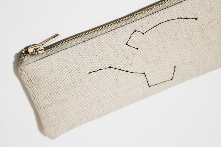 ursa major + ursa minor hand embroidered pencil cass