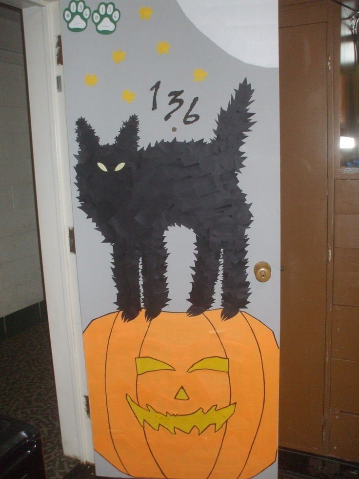 My Roommate And I Decorated Our Dorm Room Door For Halloween. Everything  Except The Gray Part 61