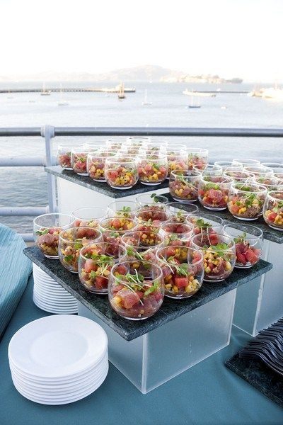 Single Serve Salads - love the presentation and those modern, clean bowls. #catering #entertaining #eventdesign