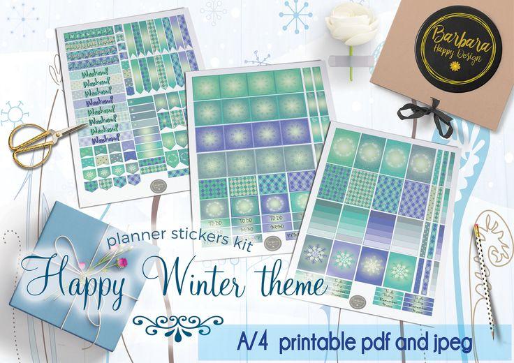 Winter Stickers Kit - Printable planner stickers - Weekly stickers - Winter Decorations - Winter stickers di BarbaraHappyDesign su Etsy
