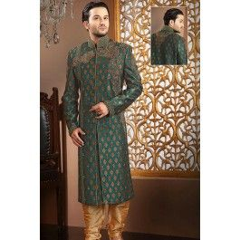 Presenting Green Banarasi Silk #Sherwani with Sequins Work Order Now@ http://zohraa.com/men/sherwani/officewear-casual-off-white-velvet-and-net-premium-kurti-fab-qlkrk31tpdtl.html Rs. 18062.