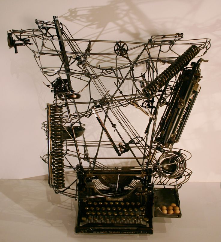 Utah artist Andrew Smith creates incredible kinetic sculptures from stuff found in junk yards and garage sales. His junk collection fills a 30-by-50-foot steel structure, and from the thousands of discarded industrial scraps he assembles mechanical Rube-Goldberesque machines from scratch.
