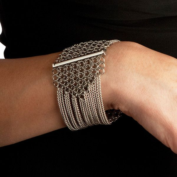 Rapt In Maille | Handmade Chainmaille Jewelry by Melissa Banks | Stainless Steel | Chicago — SLINKY 8-Row Sectioned Bracelet