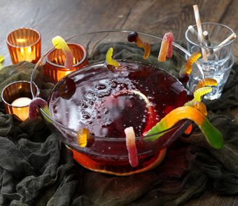 This blood-red punch is perfect for a Halloween party. Just add a slug of gin or vodka for a grown-up version
