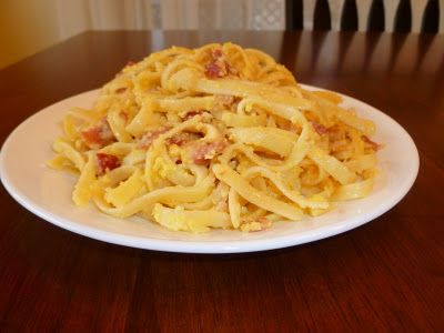 Fettucini Carbonara   1 pound of fettuccine 1/4 cup of cream 1/2 pound of cooked chopped bacon 3/4 cup of grated Parmesan cheese 1/4 c butter, melted 4 eggs parsley for garnish (optional)  When you can see that your egg is done, mix in the Parmesan cheese and the bacon and garnish with fresh chopped parsley if desired. Serve immediately. Makes 6 servings.