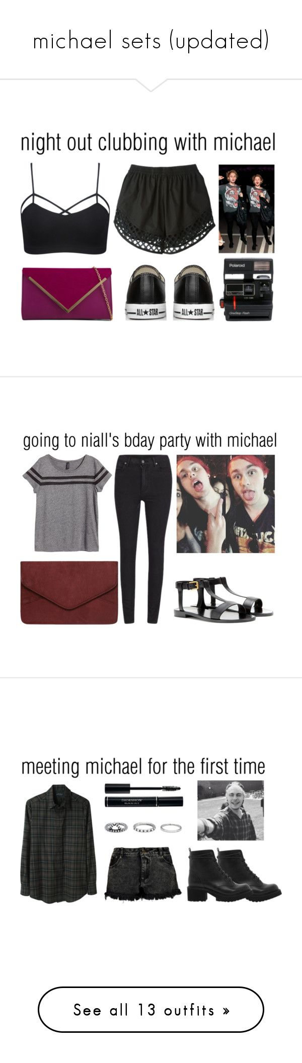 """michael sets (updated)"" by onedirectionismykyroptonite ❤ liked on Polyvore featuring moda, Wet Seal, Carven, ALDO, Converse, Polaroid, michael, michaelclifford, 5secondsofsummer y cluboutfits"