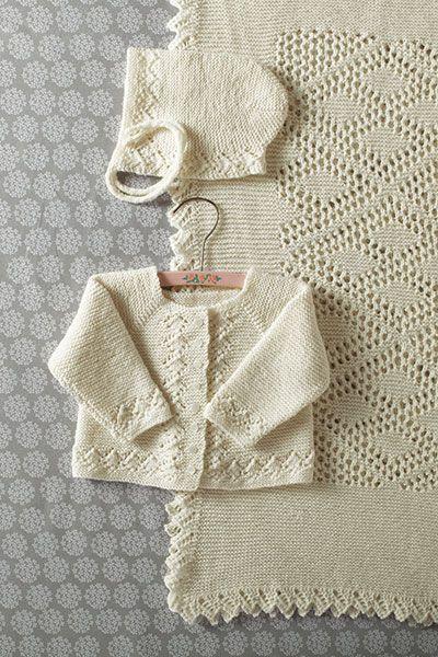 Heirloom Layette- Blanket Bonnet Sweater by Kerin Dimeler- Laurence