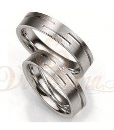 Ασημένιες βέρες γάμου με διαμάντι - breuning - 8001-8002