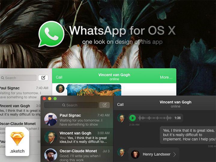 WhatsApp OSX concept - Sketch