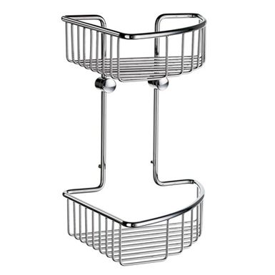 Sideline - Corner Soap Basket, Double in Polished Chrome. Concealed fastening. Because the soap basket is produced in solid brass it will never rust. Soap Basket Hook DK2100 suitable for use with this basket. This range of flexible shower and bath baskets answers a functional need in a very stylish way. The core material is solid brass, finished in brushed or polished chrome. Similar corner soap basket is also available under Home and House series.
