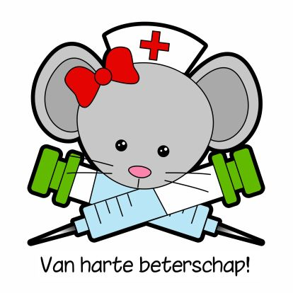 Van harte beterschap - zuster - by GIJNig - Beterschapskaarten - Kaartje2go - kaarten - ziekenhuis - muis - dieren - Esther van Gijn - Ontwerp Studio GIJNig