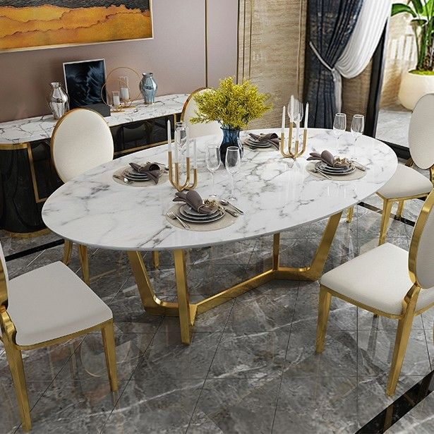 Oval Dining Table White Faux Marble, White Oval Dining Room Table