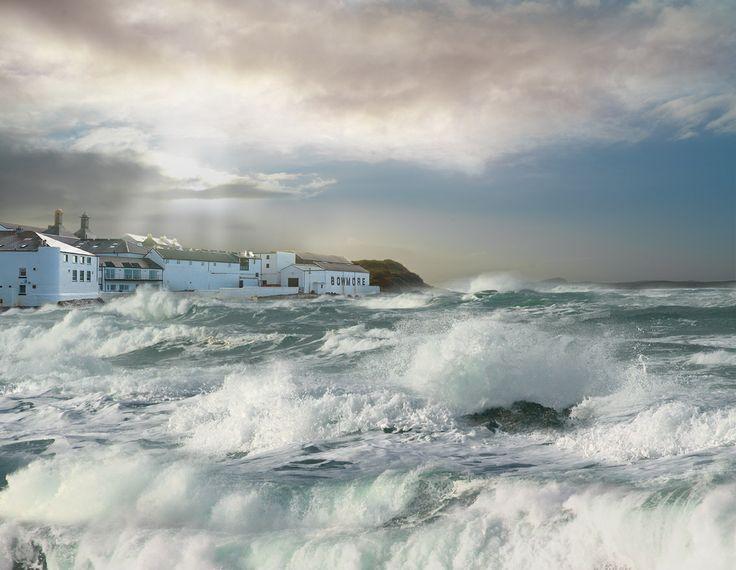 Stormy seas at Bowmore Distillery, Isle of Islay.